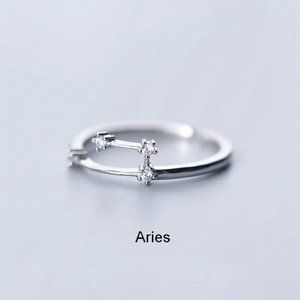 *925 Sterling Silver Zodiac Resizable Ring-Aries